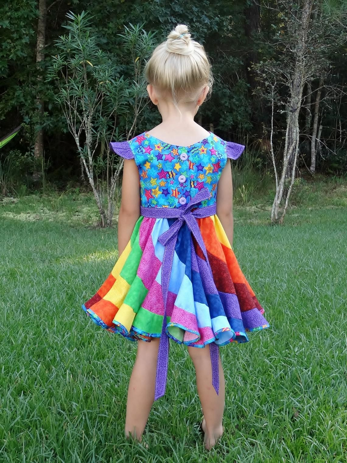 Girls dress size 2-14 FREE DELIVERY :Classic Rainbow