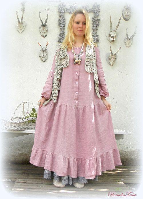 Lněné šaty propínací s dl.rukávy-starorůžové  5e41939ef6