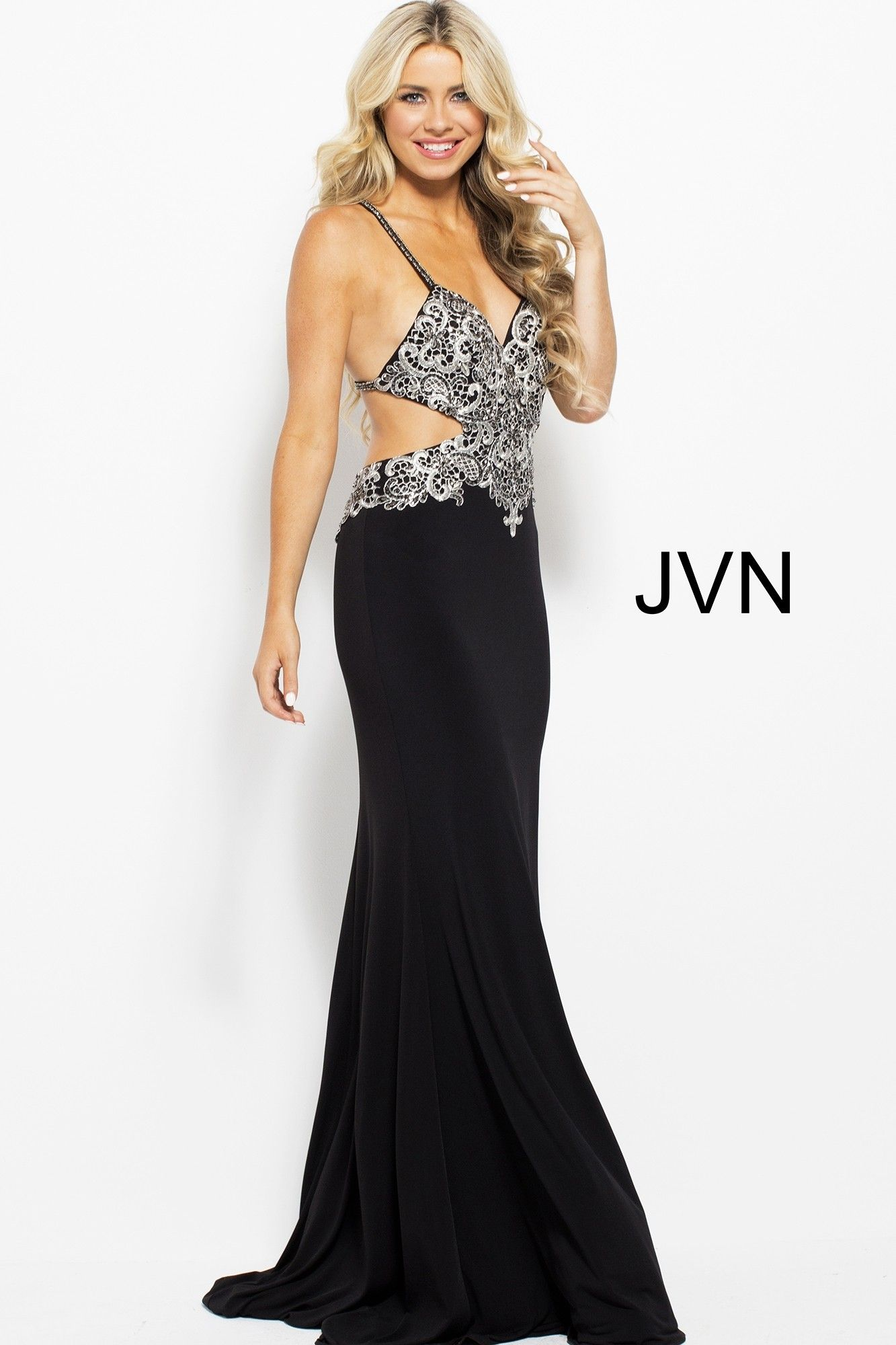 Jvn by jovani jvn spaghetti strap mermaid with cutouts swirl