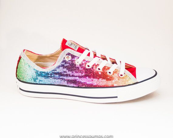 7f2968a36550 Rainbow Colors Sequin Custom Canvas Converse Sneakers Shoes