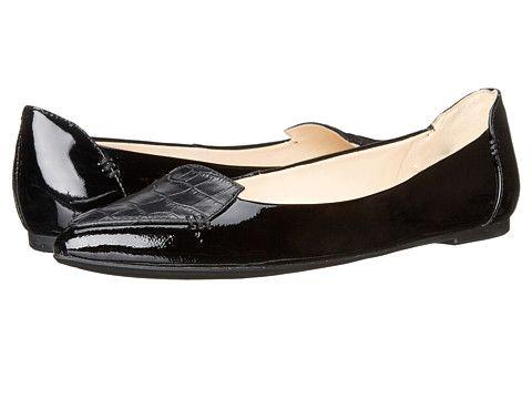 Nine West Snooze Women's Flat Shoes Black/Black/Black Leather : 5 M