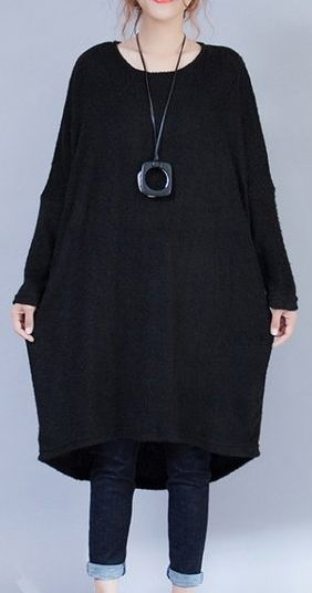 38ce642ab22 autumn-black-low-high-woolen-knit-dresses-plus-size-casual-long-sleeve- maternity-sweater-dress  knit sweaterdress sweaterdress soolinen