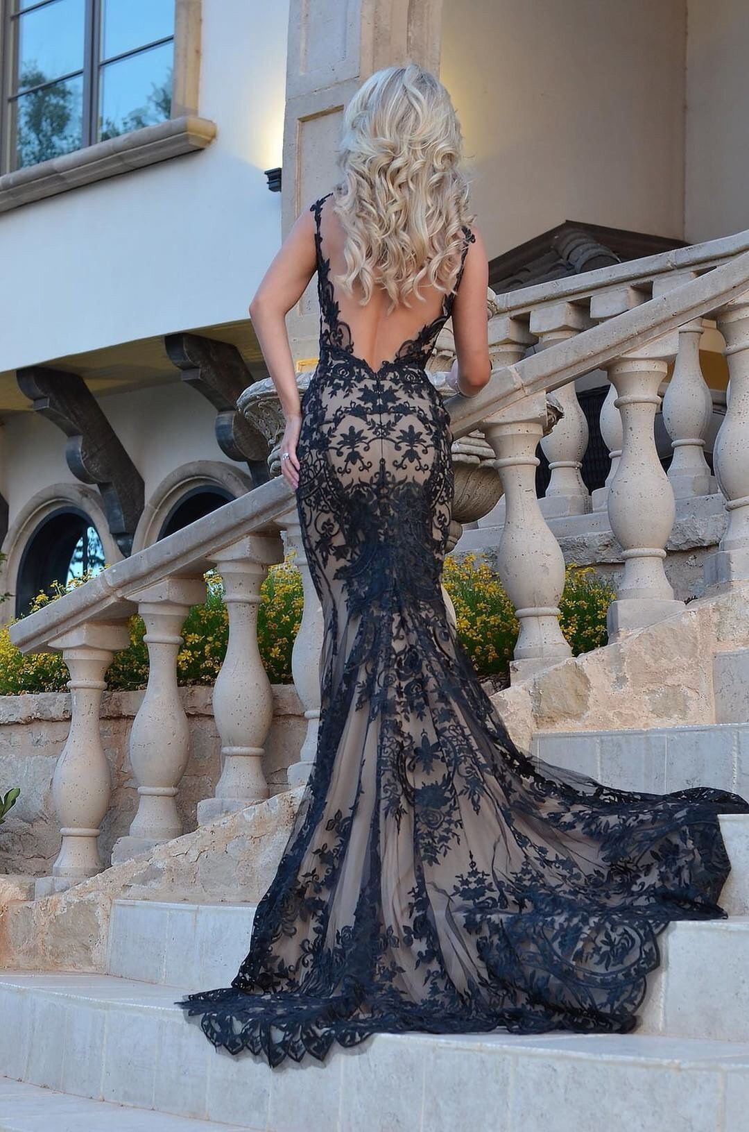 Hampton Gown Low Back Lace Gown With A Beautiful Long Train Mia Bella Couture Black Lace Wedding Black Wedding Gowns Black Wedding Dresses [ 1631 x 1080 Pixel ]