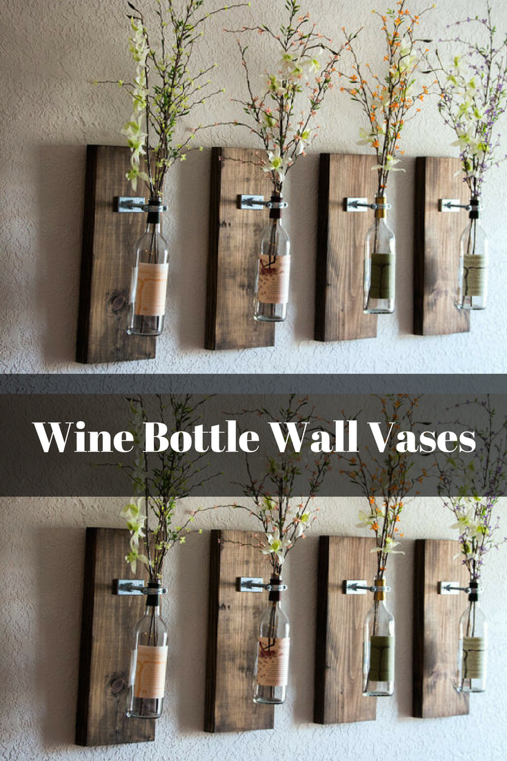 Wine Bottle Wall Vase Set Of Four Rustic Modern Decorations Wine Decor Wine Bottle Holders Wi House Decor Rustic Wine Bottle Wall Modern Rustic Decor