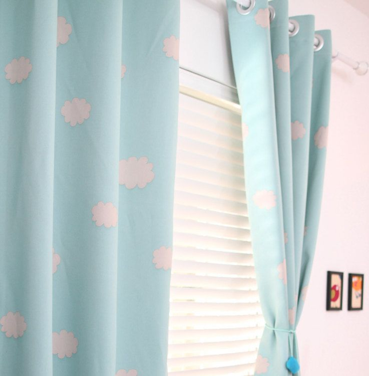 A Pair Of Blue Sky Clouds Curtains Baby Nursery Curtain Or Toddler Nap Bedroom Triple Woven Light Blocking By Hereisthe On