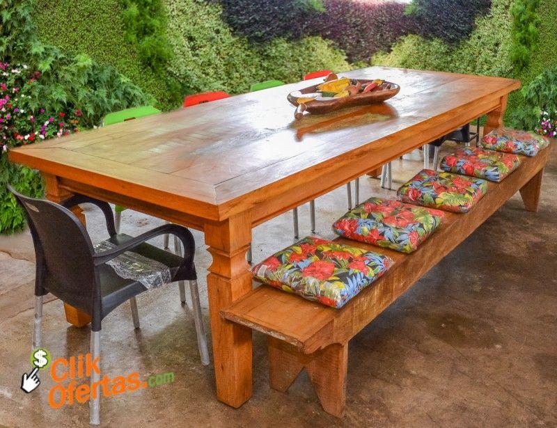 Jogo de mesa rustica em madeira de demoli o r stico for Imagenes de mesas rusticas