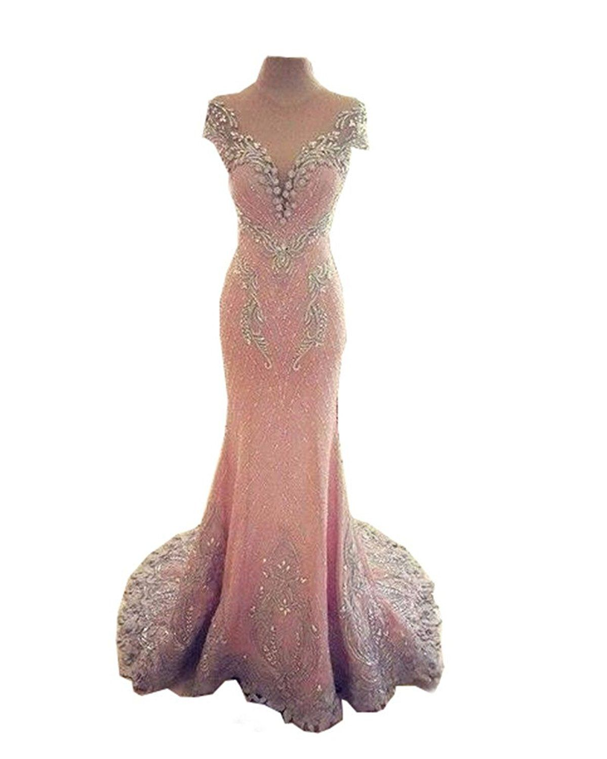 Mermaid prom dress in a variety of shades see through back train