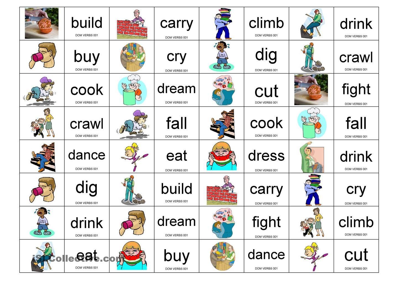 Verbs Domino Con Imagenes