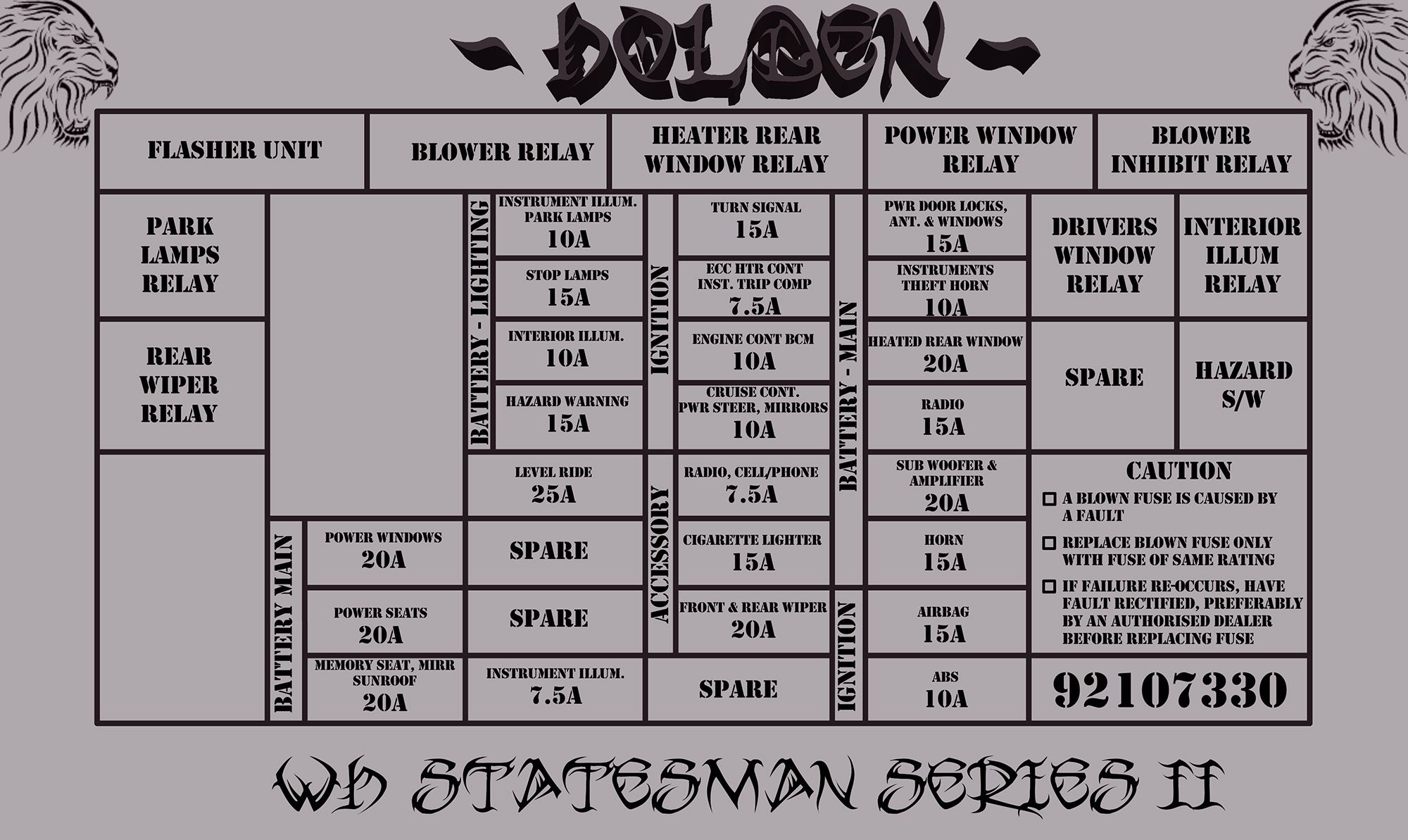 2002 WH Statesman Series II Fuse / Relay Diagram