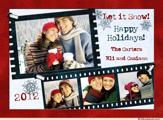 Family christmas card ideas  Modern-Film-Strip-Photo-Holiday-Black-White-4-photo-2012-red-blue