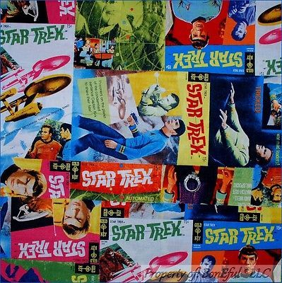 BonEful Fabric FQ Cotton Quilt Captain Kirk STAR TREK Mr Spock Planet Space Boy