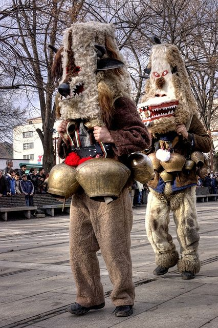 The traditional Bulgarian Kukeri celebrations (chasing the evil spirits away) in the town of Pernik.