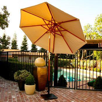 9' Wood Tilt Market Umbrella and Sunbrella Canvas