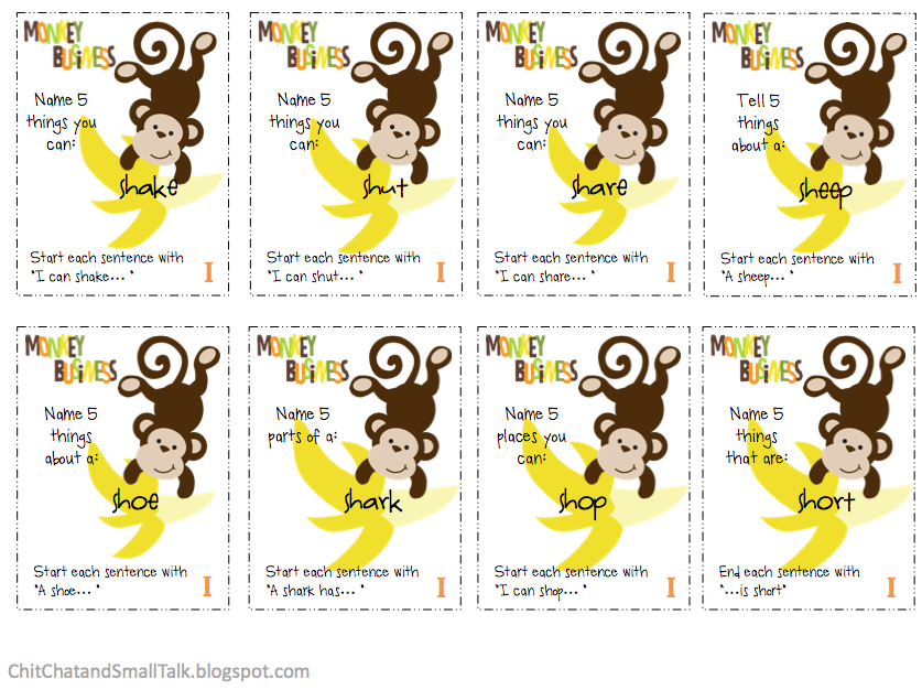 Monkey Business: A Carryover Activity for /sh/ - Pinned by ...
