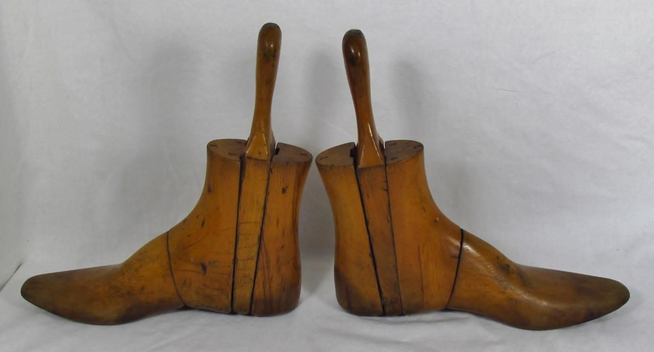 Edwardian c1910 Mens Wooden Three Part Boot Trees or Stretchers | eBay