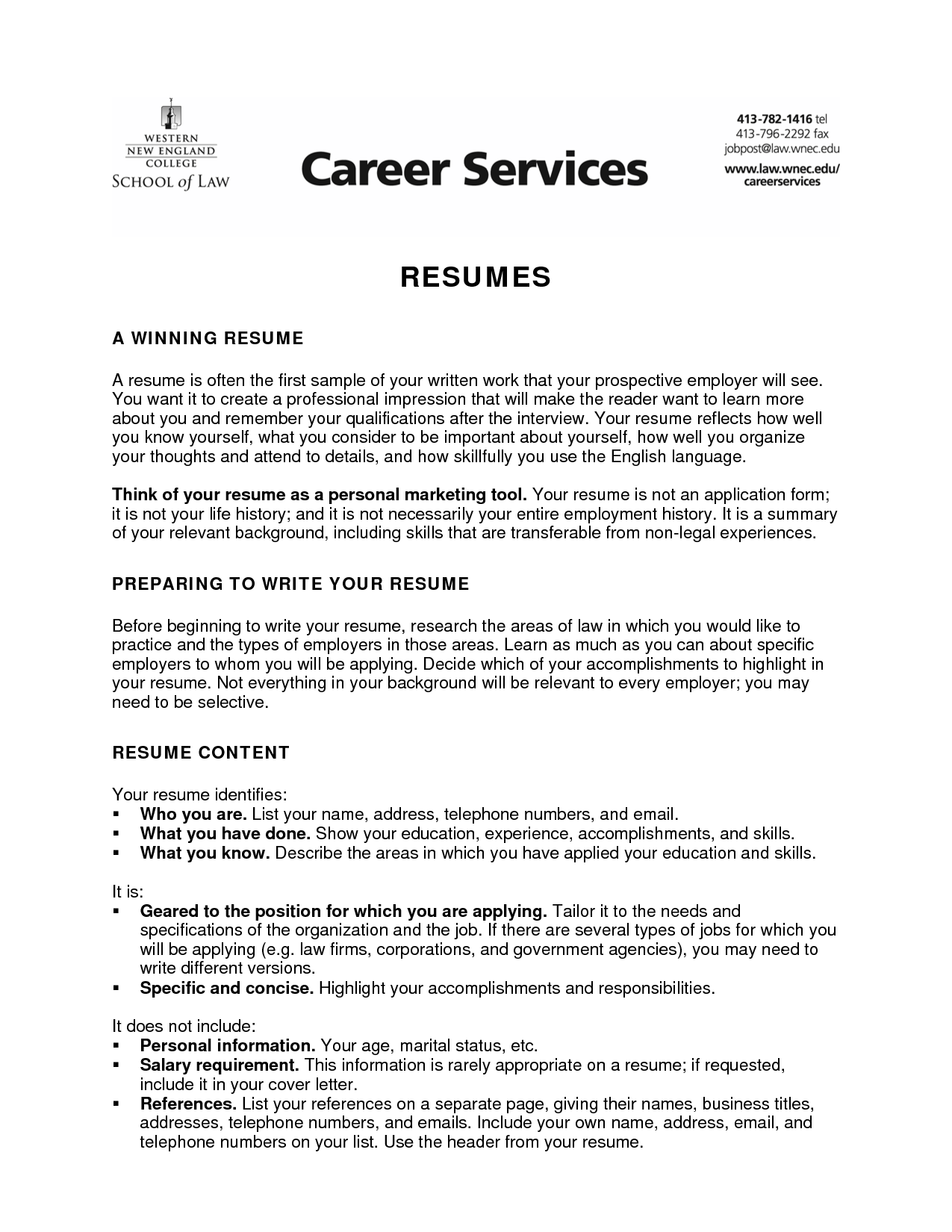 Career Services Resumes Boatremyeaton