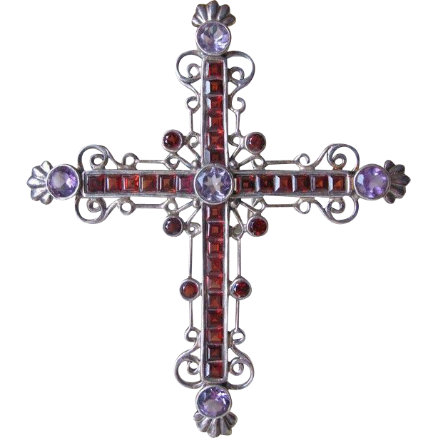 Antique Silver Cross With Garnets And Amethysts 19th Century Cross Paintings Silver Cross Antique Silver