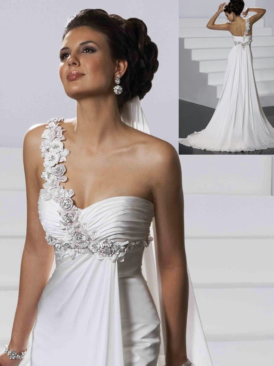 Rare One Shoulder White Chiffon Wedding Gown Of Flower Strap And Side Draping