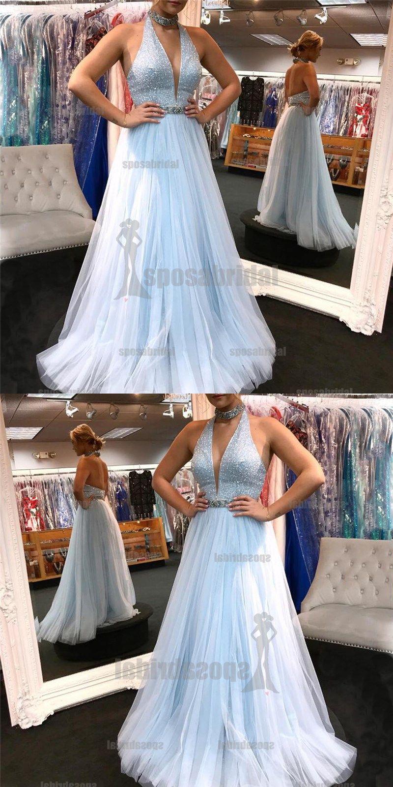 High neck light blue tulle deep v neck sparkly gorgeous prom dresses