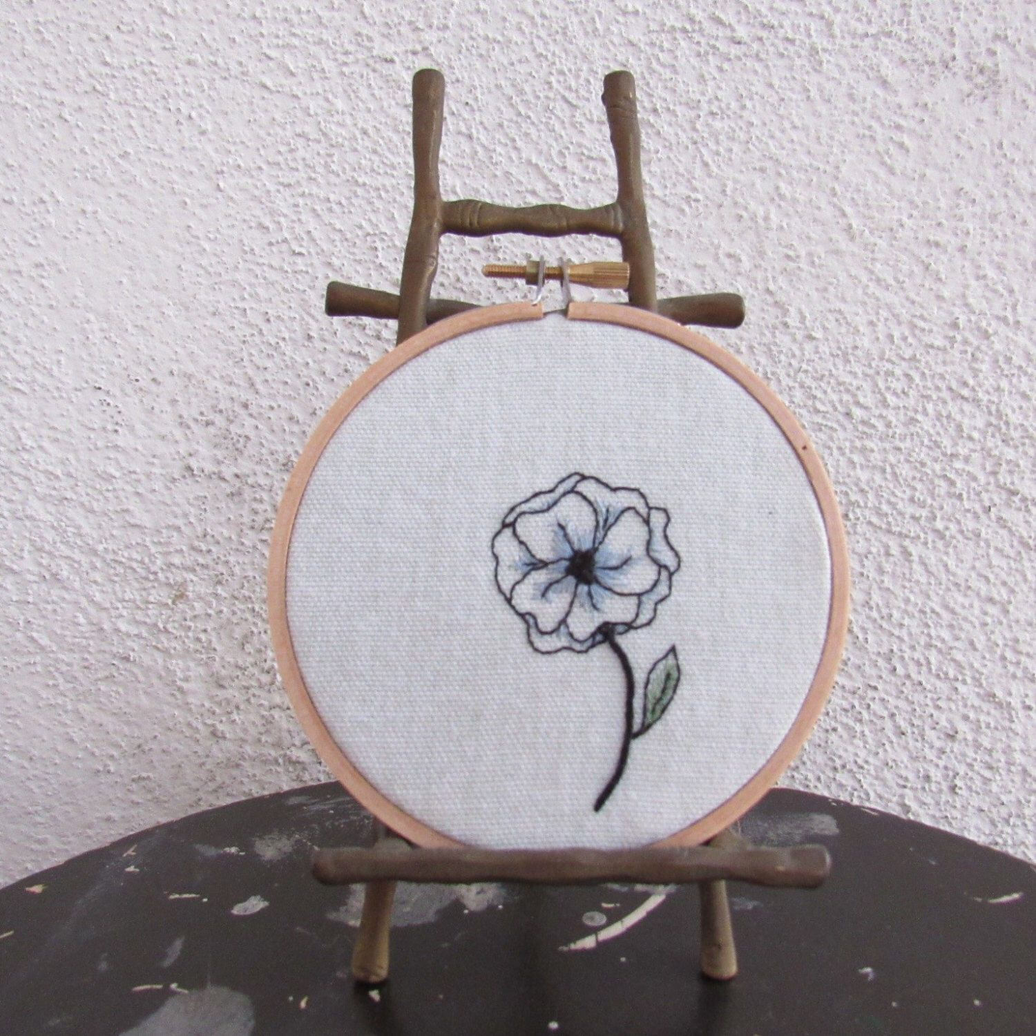 "Hoop Art ""Lonely Bloom"" • Embroidered Delicate Flower • Embroidery Wall Hanging / Home Decor in 4"" Frame by loudmouthmarket on Etsy https://www.etsy.com/listing/476001241/hoop-art-lonely-bloom-embroidered"