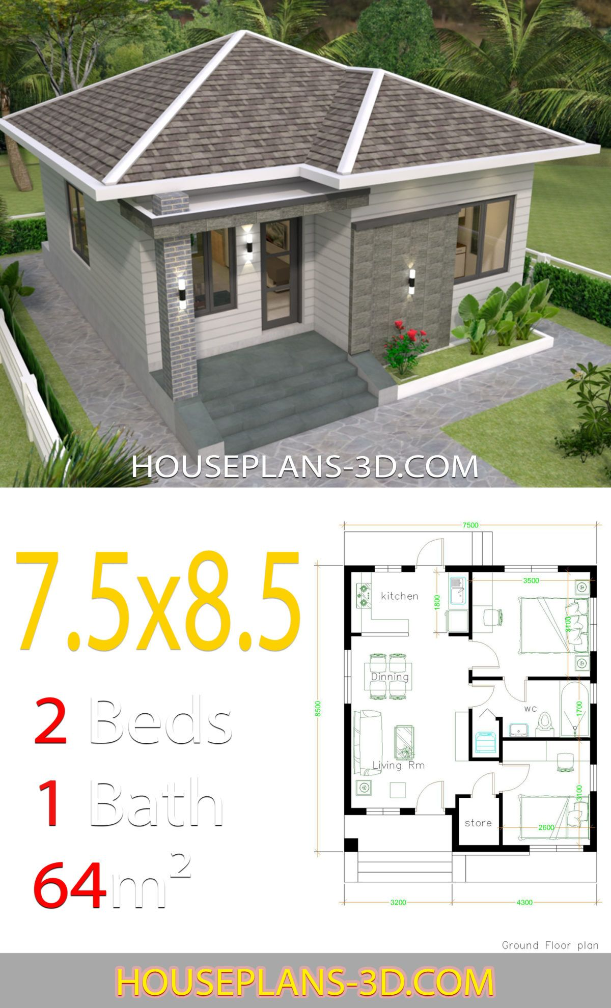 House Design 7 5x8 5 With 2 Bedrooms House Plans 3d In 2020 Bedroom House Plans My House Plans House Plans