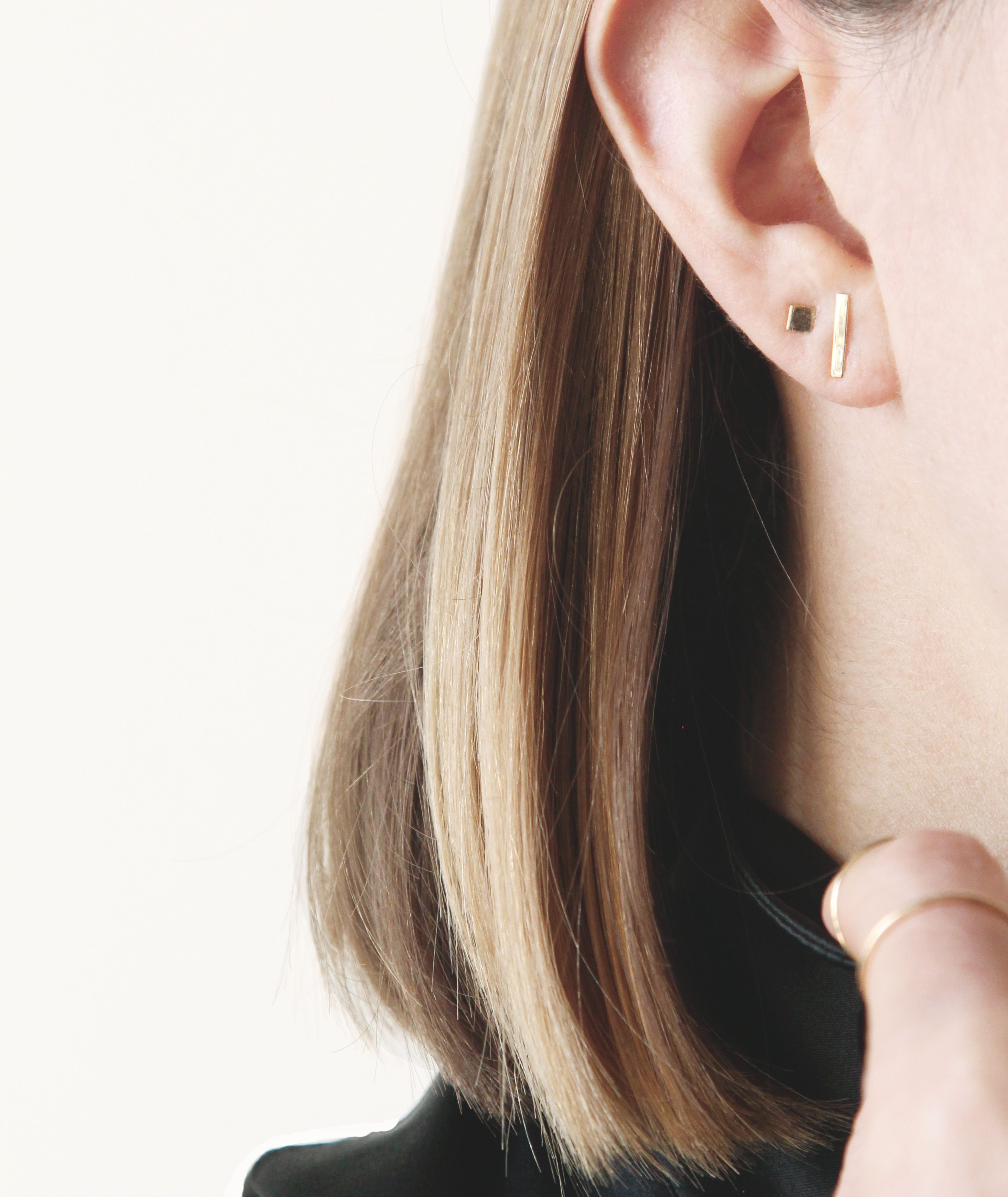 Piercing between nose and lip  Square Stud Earrings  Piercings Ear piercings and Solid gold