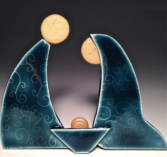 krippen set keramik creche krippe weihnachten handarbeit. Black Bedroom Furniture Sets. Home Design Ideas