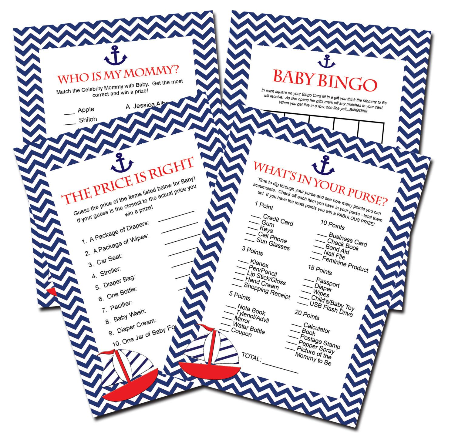 Nautical Baby Shower Games Instant Download By Perfectcelebrations