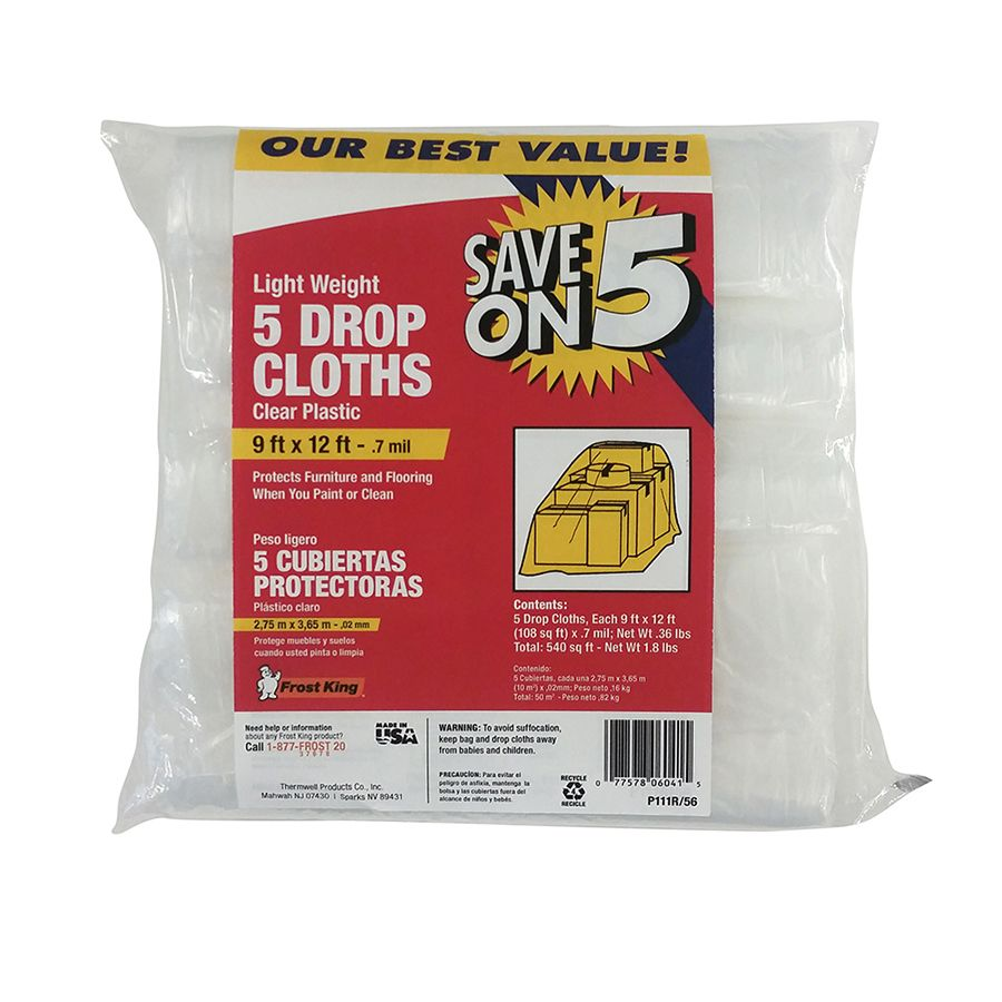 frost king 5pack plastic drop cloth common 9ft x 12