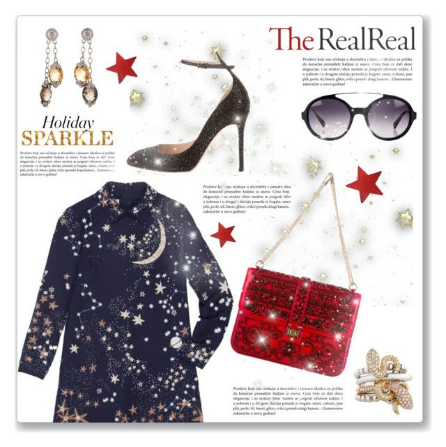 """""""Holiday Sparkle With The RealReal: Contest Entry"""" by dressedbyrose ❤ liked on Polyvore featuring Valentino and Balmain"""