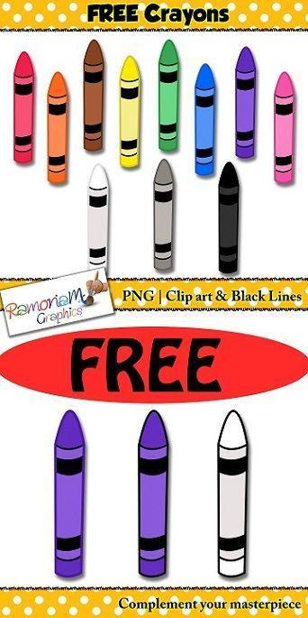 Crayons Clip art #clipartfreebies