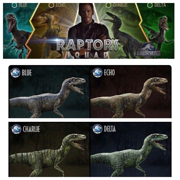A photo collage of raptor squad from Jurassic world blue echo ...