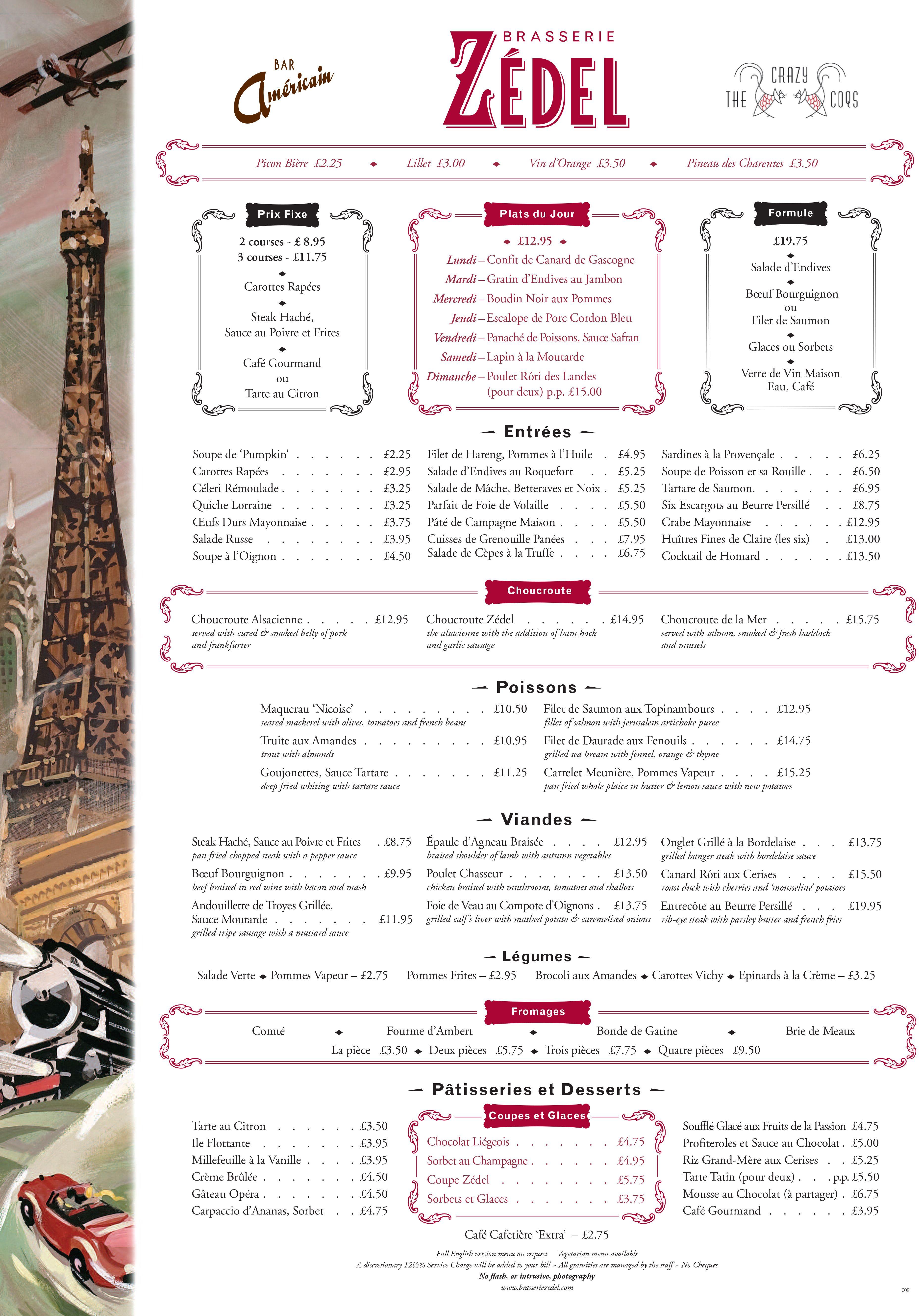 Brasserie Zedel Menu  French Brasserie    Menu And Signage