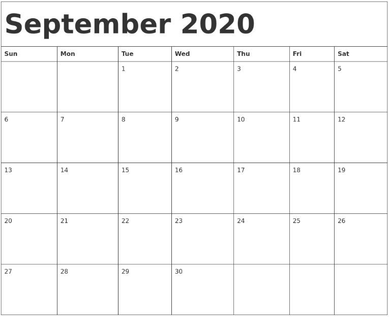 Get Large Print September 2020 Calendar Free Printable JPG
