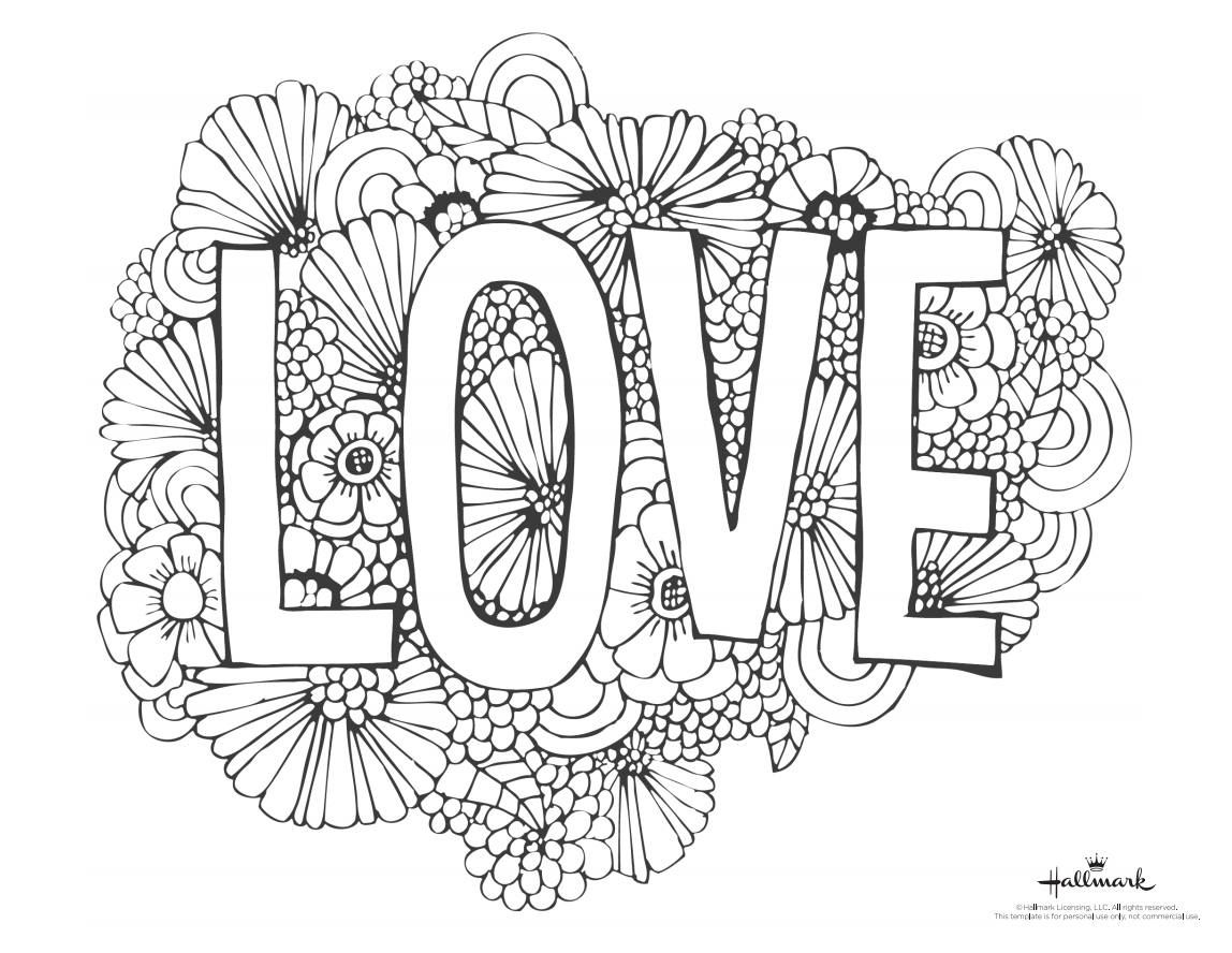 """A Valentines Day coloring page with the word """"Love"""" and flower"""