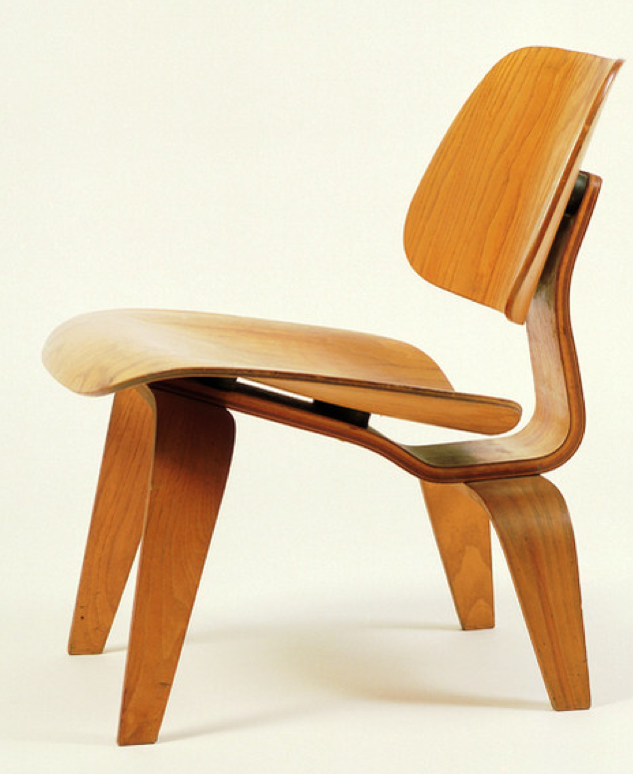 Charles and Ray Eames, 1945, LCW (Lounge Chair Wood), molded plywood