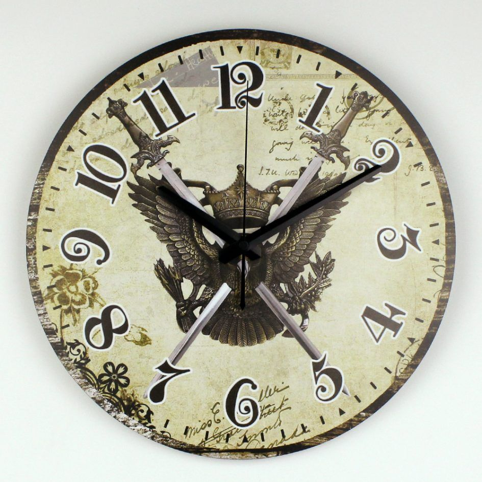 Furniture Large Decorative Wall Clocks With The Symbol Of An Eagle At The Center Of The Hour Appealing Large Decorative Wall Clocks