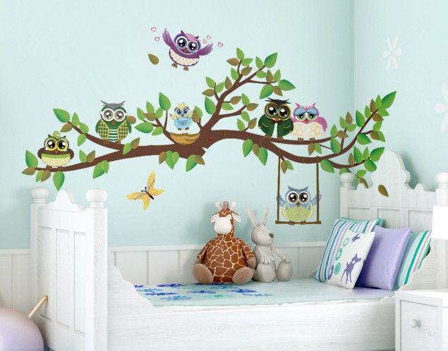 Spectacular Wandtattoo Kinderzimmer Eule Lustiger Eulenzweig