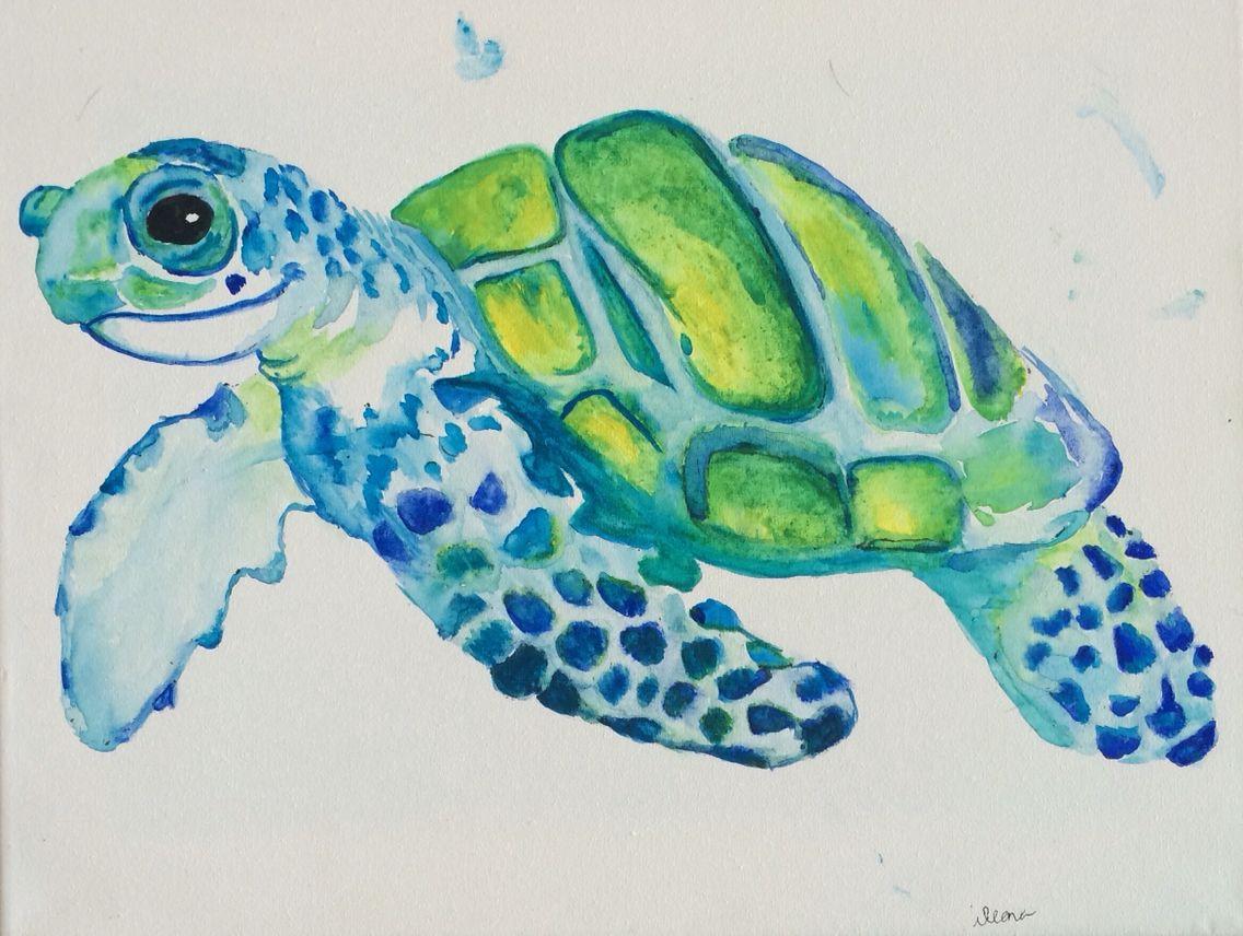 Turtle Watercolor Print Sea Turtle Art Blue By Blueturtleart