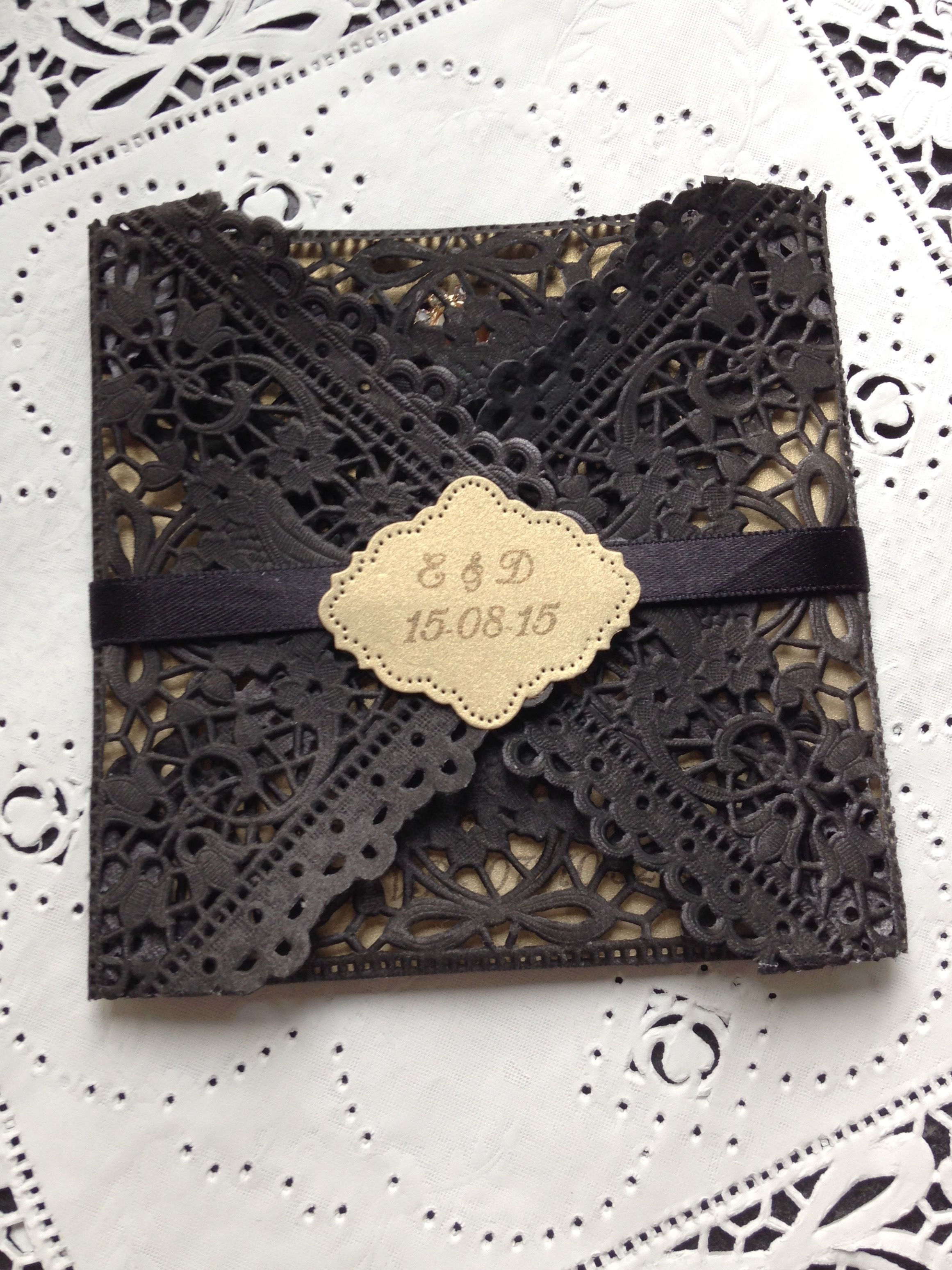 Personalised Hand Made Doily Wedding Invitation In Black Gold With Monogram Satin Wrap By Crafty Designer: Black Doily Wedding Invitations At Reisefeber.org