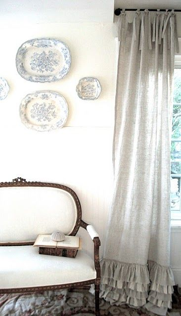 love these curtains - ruffled linen curtains