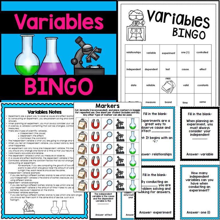 Variables Activity BINGO Scientific method, Dependent