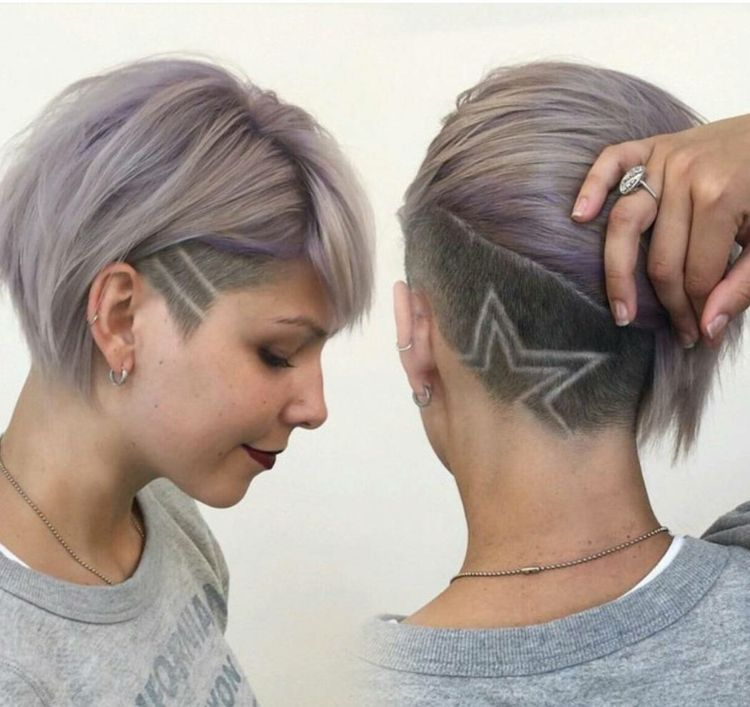 Sidecut Frau Stern Muster Hair Tattoo Hairstyles Tattoo Kurzes