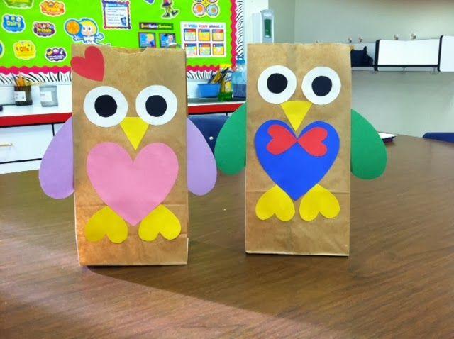 Valentine S Day Owl Bags Freebie Kindergarten Valentines