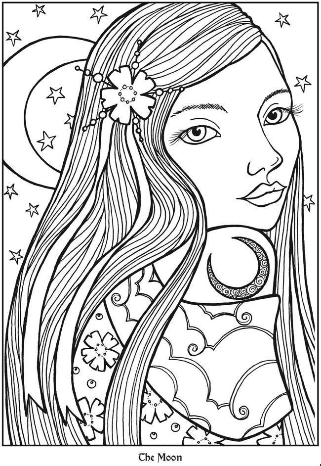 Moon Goddesses Coloring Book