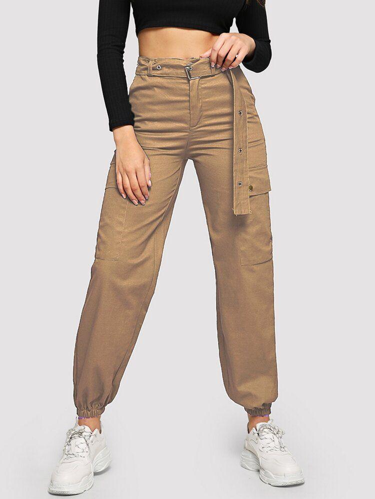 Pantalones Cargo Con Cinturon Con Ojal Con Bolsillo Con Solapa Pantalones Cargo Mujer Pantalones Cargo Pantalones De Moda
