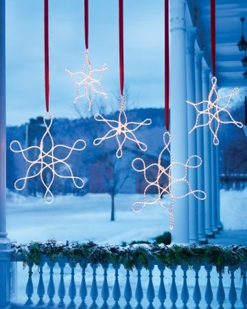 Outdoor Hanging Snowflake Ornaments Hand Twist Rope Lights