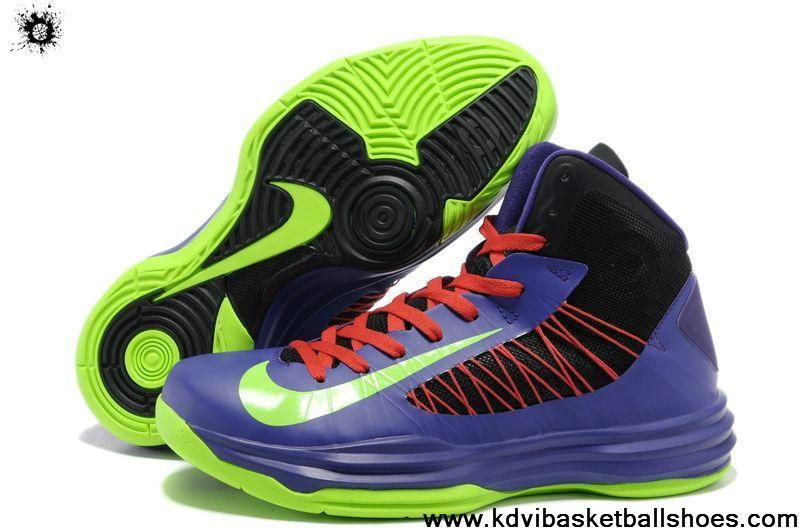 Wholesale Discount Nike Lunar Hyperdunk 2013 Men's Black Purple Neon Green Red Fashion Shoes Store