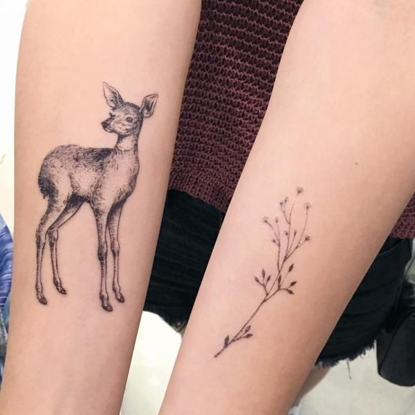 J01 Moon Deer Tattoos Set Deer Tattoo Animal Tattoos Baby Deer Tattoo