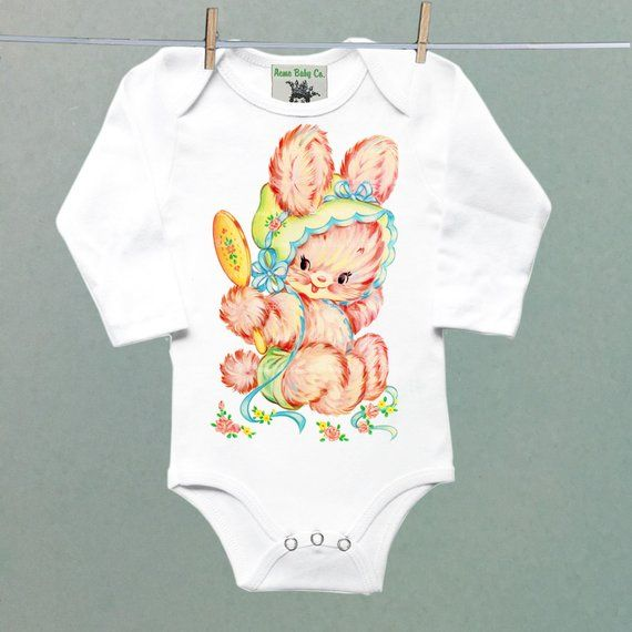 0bcccbfc3 Cute Pink Baby Bunny Retro Onesie®. Sweet little bodysuit for a vintage  themed layette.